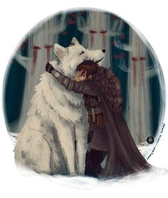 "Jon and Ghost by Mart-ha  ""I thought you'd died on me, like Robb and Ygritte and all the rest…"" - Jon Snow (A Storm of Swords p.p. 1074)"