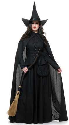 Wicked Witch Costume, All Black Evil Adult Witch, Black Halloween Witch Costume