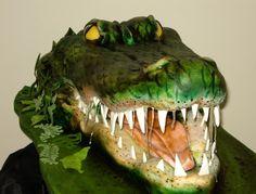 Sculpted Alligator Cake On Top Of Sheet Cake