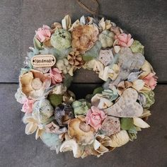 Vintage ajtódísz Vintage wreath Vintage Wreath, Floral Wreath, Romantic, Wreaths, Decoration, Projects, Handmade, Home Decor, Craft