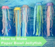 How to make a paper bowl jellyfish! The perfect addition to .-How to make a paper bowl jellyfish! The perfect addition to any 'Under the… How to make a paper bowl jellyfish! The perfect addition to any 'Under the Sea' themed area - Under The Sea Crafts, Under The Sea Theme, Under The Sea Party, Sea Activities, Day Care Activities, Indoor Activities, Summer Activities, Family Activities, Ocean Crafts