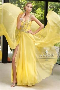 $298    Stunning yellow one shoulder prom dress    http://www.netfashionavenue.com/alyce-paris-prom-dress-6111.aspx