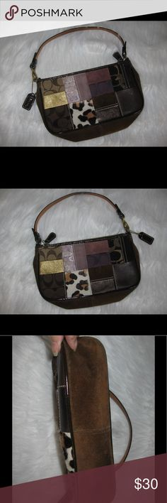 Coach Patchwork Wristlet Handbag Use a small handbag or change strap for Wristlet. Suede leather patchwork. In very good condition. Bottom shows minor wear. Clean inside. Slip pocket inside. Ask any questions! 📦Same/ Next Day Shipping 🚫Paypal/ Trades ✅Bundles 🚫Smoke Free Coach Bags Clutches & Wristlets