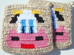 Country Cow Potholders - Rustic Light Brown Potholders, Pot Holders, Hot Pads, Hotpads, Trivet Set of Two - Home, Kitchen Decorby Hoooked, $20.00