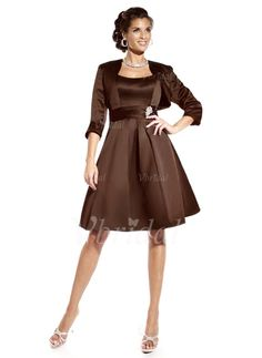 Mother of the Bride Dresses - $119.98 - A-Line/Princess Scoop Neck Knee-Length Satin Mother of the Bride Dress With Ruffle Crystal Brooch (00805007397)