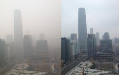 This shows the same view of a city, but at different times. One image shows the city without smog and the other shows the city with smog. The comparison really shows the difference in air quality as well as visibility due to the smog present in this certain city.