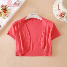 Fashion Ladies Knit Sweater Women'S Short Sleeve Solid Silk Sweater Knitting Shrug Lady Short Cardigans Sweater Waistcoat