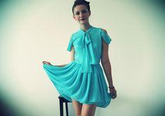 Aqua Chiffon A-Line Cotton Candy Dress