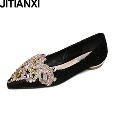 16.77$  Buy now - JITIANXI Spring Autumn Women Casual Shoes Flat Heels Crystal Rhinestone Lace Ballet Flats Oxfords Moccasins Woman Boat Shoes  #shopstyle