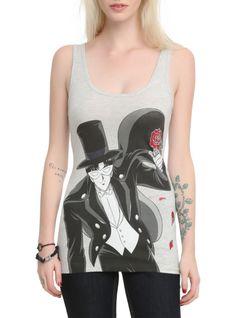 Heather grey tank top with Tuxedo Mask design.