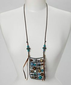 Take a look at this Brown & Blue Bead Pendant Necklace by Treska on #zulily today!