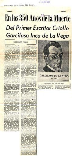 En los 350 años de la muerte del primer escritor criollo Garcilaso Inca de la Vega. Publicado el 29 de abril de 1966.