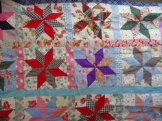 Vintage-8-Point-STAR-Quilt-Top-with-1940-50-s-Feedsack-Prints-50-5-x-60-inches
