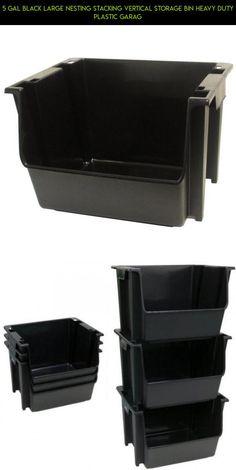 5 Gal Black Large Nesting Stacking Vertical Storage Bin Heavy Duty Plastic Garag #parts #technology #products #shopping #storage #5 #fpv #camera #bin #drone #racing #tech #gadgets #plans #kit