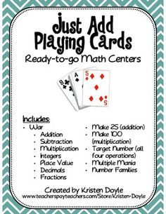 1000 images about playing card math games on pinterest math card games card games and math games. Black Bedroom Furniture Sets. Home Design Ideas