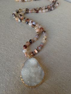 Long Glass Agate Necklace with Extra Large White Druzy Pendant by Goldenstrand Jewelry