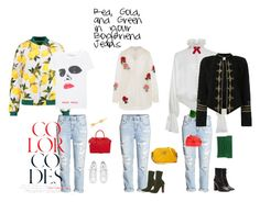 """""""Red, Gold, and Green in your Boyfriend Jeans."""" by fanciepance on Polyvore featuring Givenchy, Dolce&Gabbana, Gucci, E L L E R Y, Off-White, Ashish, Jonathan Simkhai, Steve Madden, Henri Bendel and Kathryn Duncan"""