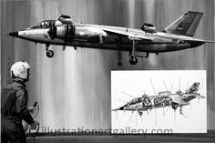 German VAK-191B (Original) (Signed) art by Wilf Hardy