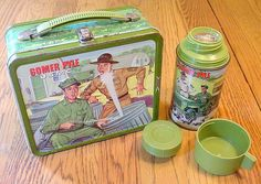 Gomer Pyle USMC Antique Lunch Box & Thermos  (Vintage Metal Lunchbox)