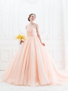 Cinderella & Co. (シンデレラ・アンド・コー) 大人の愛らしいアプリコットカラーのシンプルカラードレスSS4187AP