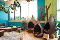 AGS is also inspired by the Reggio Emilia approach to education. Classroom Layout, Classroom Setting, Classroom Design, Kindergarten Classroom, Classroom Themes, Butterfly Classroom Theme, Classroom Reading Nook, Preschool Reading Corner, Classroom Board