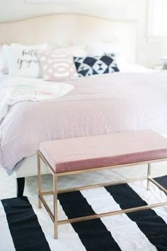 DOMINO:These Clever IKEA Hacks Will Transform Your Bedroom DIY Bedside Bench  How do you make a $60 coffee table look high-end? Wrap it in lush pink velvet fabric and repurpose it as a bedroom bench, that's how. Finish with metallic gold painted legs to lend to an even more glamorous look.  Follow these instructions for the DIY bedside bench.