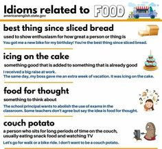"hellolearnenglishwithantriparto: "" Idioms related to FOOD #learnenglish """