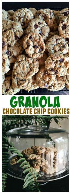 Friends, we had our first guests last week in our new home, and I served Granola Chocolate Chip Cookies – perfect for freezing and serving at any time. Cookies Granola, Cereal Cookies, Granola Cereal, Bar Cookies, Chocolate Chip Cookie Cheesecake, Perfect Chocolate Chip Cookies, Mint Chocolate Chips, Cookie Brownies, White Chocolate