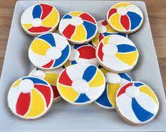 round sugar cookies - Google Search Beach Ball Cupcakes, Beach Ball Cake, Beach Ball Party, Beach Cakes, Happy Birthday Cookie, Birthday Cookies, 2nd Birthday, Birthday Ideas, Luau Cookies
