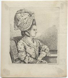 A woman shown half-length is seated in a chair, her left arm on a table and facing right. She wears a bonnet after the dormeuse pattern, adorned with a wide ribbon, tied in a bow in the front Her floral printed dress is ruffled around the neck and the front of the bodice, with ruffles below the elbow. Possibly a depiction of fashions of the late 1770s.