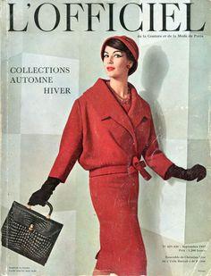 L'Officiel n°425-426 de septembre 1957, ensemble de Christian Dior, photo Pottier