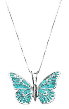 Butterfly turquoise necklace by Adina Plastelina.