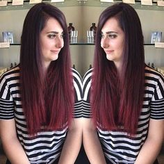 Red ombre for this long haired lady :: RedBloom Salon