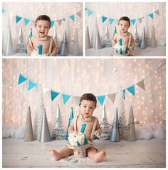 Blue White & Silver Christmas WInter Wonderland Smash Cake Photography Session | First Birthday CT Smash Cake Photographer Elizabeth Frederick Photography www.elizabethfrederickphotography,com
