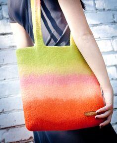 "Felted Bag Handbag Purse Felt Nunofelt Nuno felt  Eco handmadered bag Fiber Art  a gift for woman ""Mango"""