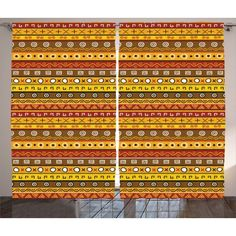 Primitive Decor Curtains 2 Panels Set, Tribal Art with Abstract Pattern Ancient Indigenous Rug Motif Symbol, Window Drapes for Living Room Bedroom, 108W X 84L Inches, Orange Yellow, by Ambesonne #primitivedecor