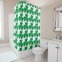 Hipster Shower Curtain Shamrock Retro Print - home gifts ideas decor special unique custom individual customized individualized