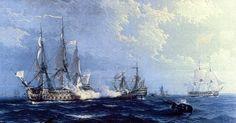 Navío Princesa combatiendo contra tres navíos ingleses