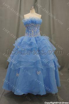 Ball Gown Strapless Pleated Flowers Ruffles Elastic Organza Quinceaneta Dresses 05429:1st-dress.com