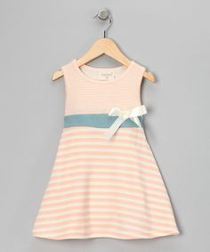 #zulily #fall  Peach Stripe & Houndstooth Organic Dress - Toddler & Girls