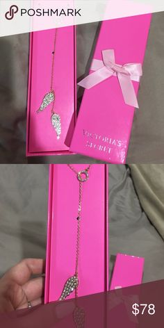Victoria Secret Angel Wing Necklace Gold colored VS angel wing necklace Victoria's Secret Jewelry Necklaces