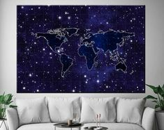 Large Canvas Prints Modern Wall Art for Home & by WALLARTSDECOR World Map Canvas, Large Canvas Prints, Modern Wall Art, Home Art, Painting Prints, Etsy Seller, Tapestry, 3d, Printed