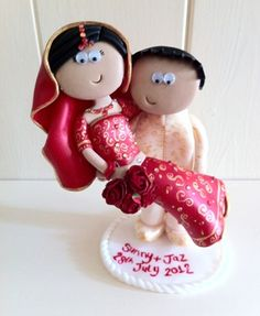 The Groom carrying the Bride. Made to look like you in any outfits/poses you want, I ship world wide www.googlygifts.co.uk