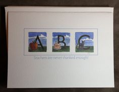 Set of 5 ABC teacher cards by abuzzcard on Etsy, $10.00