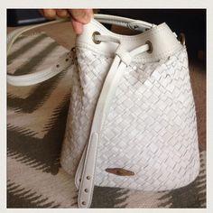 Handbags - Elliot Lucca Woven Leather White Bucket Bag on Poshmark