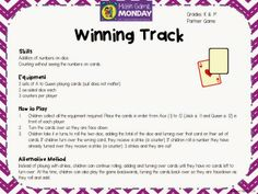 Math game for teachers. Free from Teaching Maths with Meaning! Math Rotations, Numeracy, Math Centers, Free Math Games, Quick Games, Kindergarten Activities, Teaching Math, Year 5 Maths, Math Task Cards