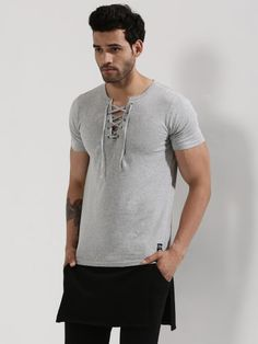 Laced Up Neck T-Shirt   Only on trendzfactory.wooplr.com   Best T-Shirts Online