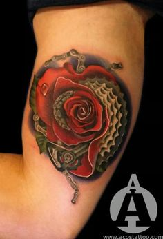 Bike chain realism morph rose tattoo - by the amazingly talented Andres Acosta / Acostattoo, based in Houston, TX.