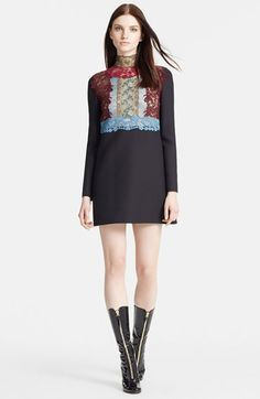 Valentino Macramé Lace Trim Wool & Silk Dress available at #Nordstrom $4390