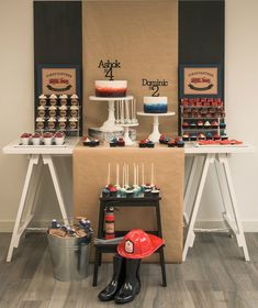 Party table from Vintage Fire Truck Themed Birthday Party at Kara's Party Ideas. See more at karaspartyideas.com!